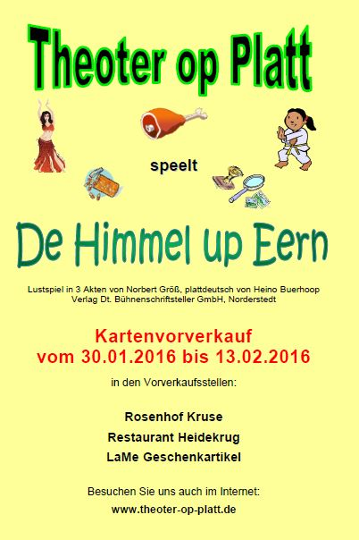 Flyer - De Himmel up Eern - 2016 - außen
